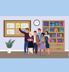 Millennial group on study room background vector