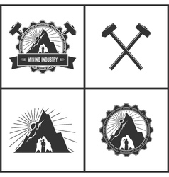 Mining Industry Label or Badge vector