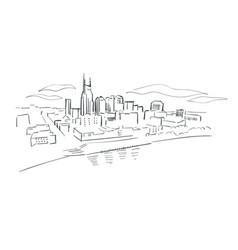Nashville tennessee usa america sketch city line vector