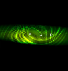neon glowing fluid wave lines magic energy space vector image