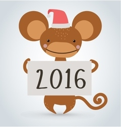 New year monkey ape wild cartoon animal holding vector