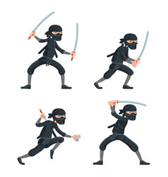 Ninja japanese secret assassin cartoon characters vector