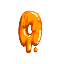 O letter of sweet fruit jelly glossy edible vector