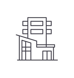 office building line icon concept office building vector image