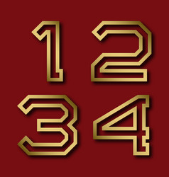 One two three four gold angular numbers with vector