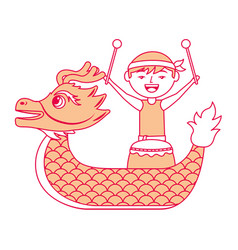 Orange dragon man with drum festival chines vector