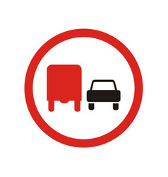 overtaking to lorries is prohibited sign vector image