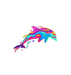 Paper cut dolphin shape 3d origami vector
