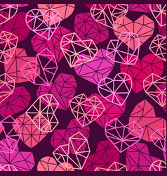 pattern with polygonal flat heart symbols vector image