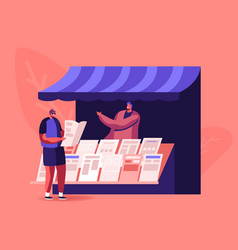 People reading and selling newspapers male vector