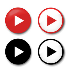 Play button icons set isolated white background vector