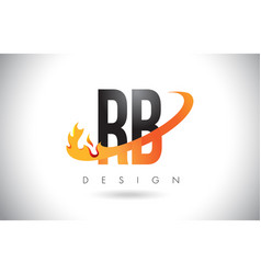 Rb r b letter logo with fire flames design vector