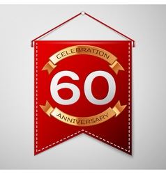 Red pennant with inscription sixty years vector