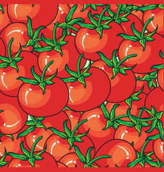 red tomato seamless pattern on red background vector image