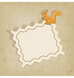 retro background with squirrel vector image