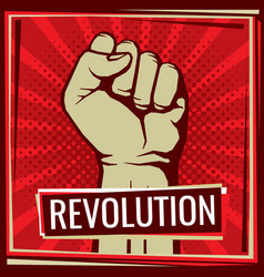 Revolution fight poster with worker hand vector