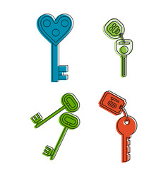 room key icon set color outline style vector image