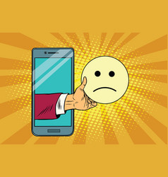 sadness resentment emoji emoticons in smartphone vector image