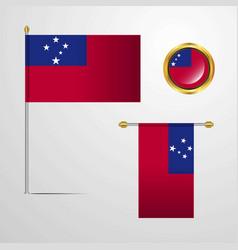 Samoa waving flag design with badge vector