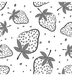 Seamless strawberry pattern Berry vector