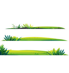 Set green lawns isolated template vector