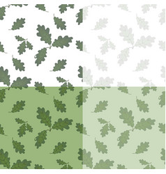 set of green oak leaves drawing without the mesh vector image
