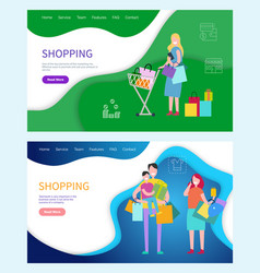 shopping woman and man carrying bags returning vector image