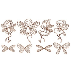 Sketch of simple fairies vector image