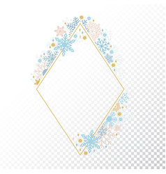 snow flake frame transparent background xmas vector image
