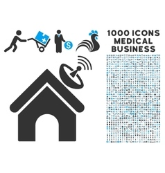 Space Antenna Building Icon with 1000 Medical vector