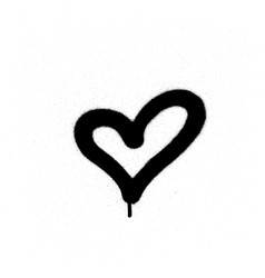 Sprayed graffiti heart in black on white vector