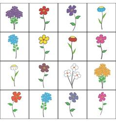 Squared Floral Set vector