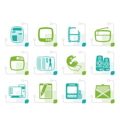 Stylized media icons vector