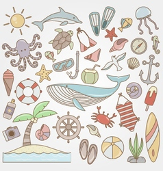 Summer fun doodle collection vector
