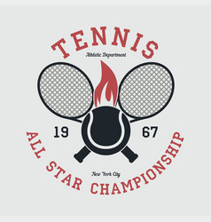 tennis sports apparel with racket and fiery ball vector image