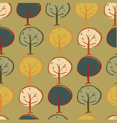 trees woodland seamless repeat pattern design vector image