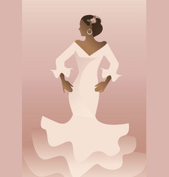 typical spanish woman wearing flamenco dress vector image
