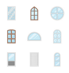 window pane icons set cartoon style vector image
