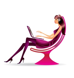 Woman in a modern chair with a laptop vector image