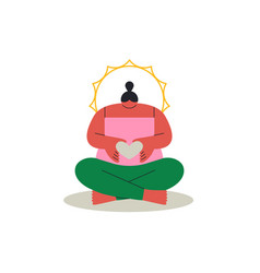 woman yoga lotus pose love concept isolated vector image
