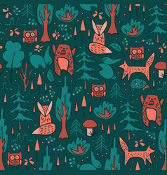Woodland animals and trees seamless pattern vector