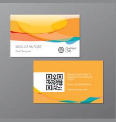 Yellow elegant name card template vector