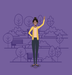 young businesswoman black on the park vector image