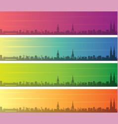 Zagreb multiple color gradient skyline banner vector