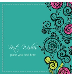 Zentangle hand drawn floral template vector image