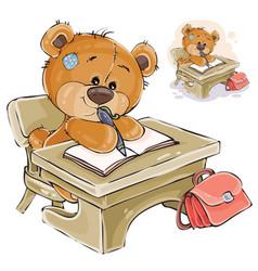 A brown teddy bear sitting vector