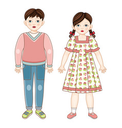 flat brunette boy and girl kids smiling vector image vector image