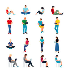 set of people in a flat style isolated vector image vector image