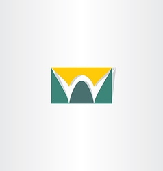 stylized logo letter w green and yellow vector image