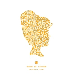 golden lace roses girl portrait silhouette pattern vector image vector image
